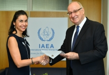 The new Resident Representative of Chile to the IAEA, HE Ms Gloria Navarrete Pinto (left), presented her credentials to Aldo Malavasi, IAEA Acting Director General, and Head of the Department of Nuclear Sciences and Applications at the IAEA headquarters in Vienna, Austria, on 5 September 2018.