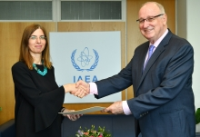 The new Resident Representative of Cyprus to the IAEA, HE Ms Elena Rafti, presented her credentials to Aldo Malavasi, IAEA Acting Director General, and Head of the Department of Nuclear Sciences and Applications at the IAEA headquarters in Vienna, Austria, on 6 September 2018.