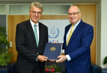 The new Resident Representative of Germany to the IAEA, HE Mr Gerhard Kuntzl, presented his credentials to Aldo Malavasi, IAEA Acting Director General, and Head of the Department of Nuclear Sciences and Applications at the IAEA headquarters in Vienna, Austria, on 7 September 2018