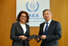 The new Resident Representative of the Republic of Malta to the IAEA, HE Ms Natasha Meli Daudey, presented her credentials to Dazhu Yang (right), IAEA Acting Director General, and Head of the Department of Technical Cooperation at the IAEA headquarters in Vienna, Austria, on 1 October 2018.