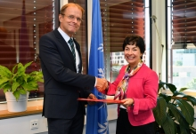 The new Resident Representative of the Czech Republic to the IAEA, HE Mr Ivo Sramek, presented his credentials to Mary Alice Hayward, IAEA Acting Director General, and Head of the Department of Management at the IAEA headquarters in Vienna, Austria, on 18 September 2018.