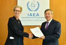 The new Resident Representative of Sweden to the IAEA, HE Ms Mikaela Kumlin Granit, presented her credentials to Dazhu Yang (right), IAEA Acting Director General, and Head of the Department of Technical Cooperation at the IAEA headquarters in Vienna, Austria, on 4 October 2018.