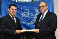 The new Resident Representative of Uzbekistan to the IAEA, HE Mr Sherzod Asadov, presented his credentials to Mikhail Chudakov (right), IAEA Acting Director General, and Head of the Department of Nuclear Energy at the IAEA headquarters in Vienna, Austria, on 21 December 2018.