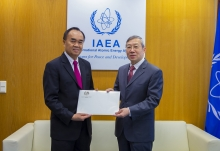 The new Resident Representative of the Lao People's Democratic Republic, HE Mr Sithong Chitnhothinh, presented his credentials to Dazhu Yang, IAEA Acting Director General and Head of the Department of Technical Cooperation, at the IAEA headquarters in Vienna, Austria, on 24 January 2019.