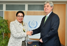 The new Resident Representative of North Macedonia to the IAEA, HE Mr Igor Djundev, presented his credentials to Najat Mokhtar, IAEA Acting Director General, and Head of the Department of Nuclear Sciences and Applications at the IAEA headquarters in Vienna, Austria, on 14 March 2019