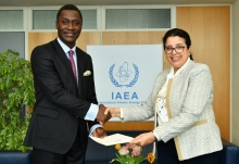 The new Resident Representative of Ghana to the IAEA, HE Mr Ramses Joseph Cleland, presented his credentials to Najat Mokhtar, IAEA Acting Director General, and Head of the Department of Nuclear Sciences and Applications at the IAEA headquarters in Vienna, Austria, on 15 March 2019