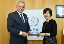 The new Resident Representative of Montenegro to the IAEA, HE Mr Veselin Šuković, presented his credentials to Mary Alice Hayward, Acting Director General and Head of the Department of Management at the IAEA headquarters in Vienna, Austria, on 4 June 2019