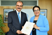 The new Resident Representative of Iraq to the IAEA, HE Mr Bakr Fattah Hussein, presented his credentials to Najat Mokhtar, IAEA Acting Director General, and Head of the Department of Nuclear Sciences and Applications at the IAEA headquarters in Vienna, Austria, on 17 June 2019