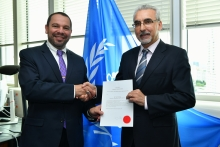 The new Resident Representative of Israel to the IAEA, HE Mr David Nusbaum, presented his credentials to Juan Carlos Lentijo, IAEA Acting Director General, and Head of the Department of Nuclear Safety and Security at the IAEA headquarters in Vienna, Austria, on 9 July 2019.