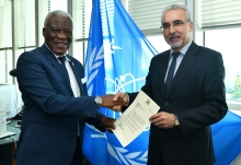 The new Resident Representative of Sierra Leone to the IAEA, HE Mr M'Baimba Lamin Baryoh, presented his credentials to Juan Carlos Lentijo, IAEA Acting Director General, and Head of the Department of Nuclear Safety and Security at the IAEA headquarters in Vienna, Austria, on 11 July 2019