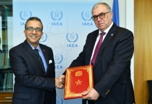 The new Resident Representative of Morocco to the IAEA, HE Mr Azzeddine Farhane, presented his credentials to Mikhail Chudakov, IAEA Acting Director General, and Head of the Department of Nuclear Energy at the IAEA headquarters in Vienna, Austria, on 19 July 2019