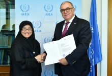 The new Resident Representative of Brunei Darussalam to the IAEA, HE Ms Masurai Masri, presented her credentials to Mikhail Chudakov, IAEA Acting Director General, and Head of the Department of Nuclear Energy at the IAEA headquarters in Vienna, Austria, on 19 July 2019