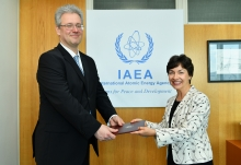 The new Resident Representative of Ukraine to the IAEA, HE Mr Yevhenii Tsymbaliuk, presented his credentials to Mary Alice Hayward, Acting Director General and Head of the Department of Management at the IAEA headquarters in Vienna, Austria, on 23 July 2019.