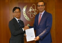 The new Resident Representative of Japan to the IAEA, HE Mr Takeshi Hikihara, presented his credentials to Cornel Feruta, IAEA Acting Director General at the Agency headquarters in Vienna, Austria, on 5 September 2019.