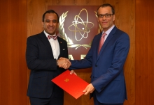 The new Resident Representative of Singapore to the IAEA, HE Mr Umej Singh Bhatia, presented his credentials to Cornel Feruta, IAEA Acting Director General at the Agency headquarters in Vienna, Austria, on 5 September 2019