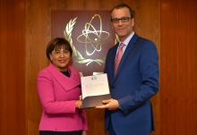 The new Resident Representative of the Plurinational State of Bolivia to the IAEA, HE Ms Nardi Elizabeth Suxo Iturry, presented her credentials to Cornel Feruta, IAEA Acting Director General at the Agency headquarters in Vienna, Austria, on 5 September 2019