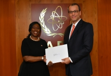 The new Resident Representative of Liberia to the IAEA, HE Ms. Younger Sevelee Telewoda, presented her credentials to Cornel Feruta, IAEA Acting Director General at the Agency headquarters in Vienna, Austria, on 8 October 2019.