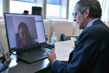 IAEA Director General Rafael Mariano Grossi welcomes H. E. Ms. Maimuna K. Tarishi, the new Resident Representative of Tanzania to the IAEA during their virtual meeting at the Agency headquarters in Vienna, Austria. 8 June 2020