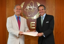 The new Resident Representative of Mexico to the IAEA, HE Mr. Luis Javier Campuzano Piña, presented his credentials to IAEA Director General Rafael Mariano Grossi at the Agency headquarters in Vienna, Austria, on 10 July 2020.