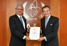 The new Resident Representative of India to the IAEA, HE Mr. Jaideep Mazumdar, presented his credentials to IAEA Director General Rafael Mariano Grossi at the Agency headquarters in Vienna, Austria, on 10 July 2020.