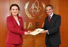 The new Resident Representative of Georgia to the IAEA, HE Ms. Ketevan Tsikhelashvili, presented her credentials to IAEA Director General Rafael Mariano Grossi at the Agency headquarters in Vienna, Austria, on 22 July 2020.