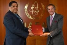 The new Resident Representative of Sri Lanka to the IAEA, HE Mr. Majintha Jayesinghe, presented his credentials to IAEA Director General Rafael Mariano Grossi at the Agency headquarters in Vienna, Austria, on 28 August 2020.