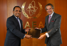 The new Resident Representative of Bangladesh to the IAEA, HE Mr. Muhammad Abdul Muhith, presented his credentials to IAEA Director General Rafael Mariano Grossi at the Agency headquarters in Vienna, Austria, on 28 August 2020.