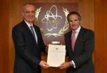 The new Resident Representative of Belarus to the IAEA, HE Mr. Andrei Dapkiunas, presented his credentials to IAEA Director General Rafael Mariano Grossi at the Agency headquarters in Vienna, Austria, on 10 September 2020.