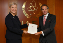 The new Resident Representative of Latvia to the IAEA, HE Ms. Katrina Katina, presented her credentials to IAEA Director General Rafael Mariano Grossi at the Agency headquarters in Vienna, Austria, on 10 September 2020.  Photo Credit: Dean Calma / IAEA