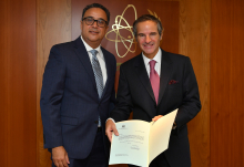The new Resident Representative of Egypt to the IAEA, HE Mr. Mohamed Elmolla, presented his credentials to IAEA Director General Rafael Mariano Grossi at the Agency headquarters in Vienna, Austria, on 10 September 2020.