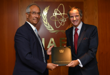 The new Resident Representative of Pakistan to the IAEA, HE Mr. Aftab Ahmad Khokher, presented his credentials to IAEA Director General Rafael Mariano Grossi at the Agency headquarters in Vienna, Austria, on 5 October 2020.