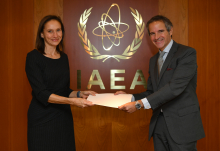 The new Resident Representative of the United Kingdom to the IAEA, HE Ms. Corinne Kitsell, presented her credentials to IAEA Director General Rafael Mariano Grossi at the Agency headquarters in Vienna, Austria, on 23 October 2020.
