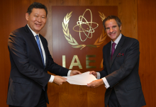 The new Resident Representative of Kazakhstan to the IAEA, HE Mr. Kairat Umarov, presented his credentials to IAEA Director General Rafael Mariano Grossi at the Agency headquarters in Vienna, Austria, on 29 October 2020.