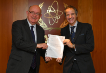 The new Resident Representative of Ireland to the IAEA, HE Mr. Eoin O'Leary, presented his credentials to IAEA Director General Rafael Mariano Grossi at the Agency headquarters in Vienna, Austria, on 2 November 2020.