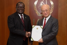 The new Resident Representative of Tanzania, James Alex Msekela, presented his credentials to IAEA Director General Yukiya Amano at the IAEA headquarters in Vienna, Austria on 24 February 2017.