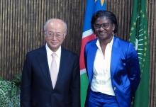 IAEA Director General Yukiya Amano met Namibian First Lady Monica Geingos during his official visit to Namibia. 17 May 2016