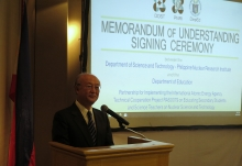 IAEA Director General Yukiya Amano delivers remarks at the signing ceremony of the Memorandum of Understanding between the Department of Education and Department of Science and Technology on 8 February 2018 in Manila, Philippines.