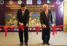 IAEA Director General Yukiya Amano together with Arasakas Boonruang, Minister of Science and Technology, cuts the ribbon to officially opens the First Meeting of the IAEA's regional project on 'Managing and Controlling Aedes Vector Populations using the Sterile Insect Technique', during his official visit to Bangkok, Thailand. 11 February 2018