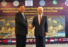 IAEA Director General Yukiya Amano together with Mr Arasakas Boonruang, Minister of Science and Technology, at the First Meeting of the IAEA's regional project on 'Managing and Controlling Aedes Vector Populations using the Sterile Insect Technique', during his official visit to Bangkok, Thailand. 11 February 2018