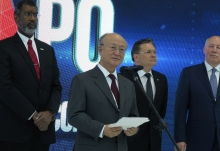 IAEA Director General Yukiya Amano delivers his remarks at the opening of the 10th ATOMEXPO nuclear power forum during his official visit to Sochi, Russian Federation. 14 May 2018.