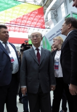 IAEA Director General Yukiya Amano tours the exhibits at the opening of the 10th ATOMEXPO nuclear power forum with Alexey Likhachev, Director General of ROSATOM, during his official visit to Sochi, Russian Federation. 14 May 2018