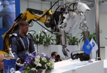 Exhibits at the 10th ATOMEXPO nuclear power forum in Sochi, Russian Federation. 14 May 2018