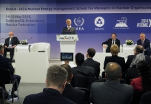 IAEA Director General Yukiya Amano delivers his opening remarks at the inauguration of the third Joint ROSATOM-IAEA Nuclear Energy Management School during his official visit to Sochi, Russian Federation. 14 May 2018