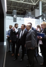 IAEA Director General Yukiya Amano visits the ROSATOM exhibit with Alexey Likhachev, Director General of ROSATOM, during his official visit to Sochi, Russian Federation. 14 May 2018