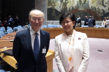IAEA Director General Yukiya Amano with Izumi Nakamitsu, United Nations Under-Secretary General and High Representative for Disarmament Affairs before the start of the Security Council meeting at the United Nations headquarters in New York. 2 April 2019.