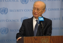 IAEA Director General Yukiya Amano briefs the press after the Security Council meeting on Non-proliferation during his official visit to United Nations New York. 2 April 2019.