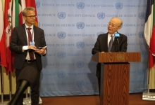IAEA Director General Yukiya Amano briefs the press after the Security Council meeting on Non-proliferation during his official visit to United Nations New York. 2 April 2019. Far left, Fredrik Dahl, IAEA Section Head (Media, Multimedia and Public Outreach) Office of Public Information and Communication.