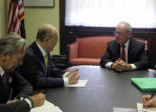 IAEA Director General Yukiya Amano met with Senator Jim Risch, US Chairman of the Senate Foreign Relations Committee during his official visit to Washington DC, USA. 4 April 2019. Far left, Massimo Aparo, IAEA Deputy Director General and Head of the Department of Safeguards.