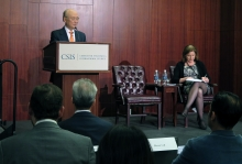 "IAEA Director General Yukiya Amano delivers his statement ""Challenges in Nuclear Verification"" at the Center for Strategic and International Studies during his official visit to Washington DC, USA. 5 April 2019"