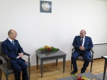 IAEA Director General Yukiya Amano met with Ashot Martirosyan, Chairman of the Armenian Nuclear Regulatory Authority, during his official visit to Armenia. 29 April 2019